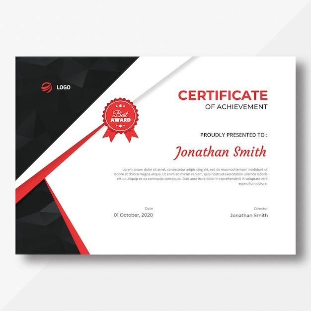 Modèle De Certificat Rouge Et Noir Avec Motif Polygone PSD Premium