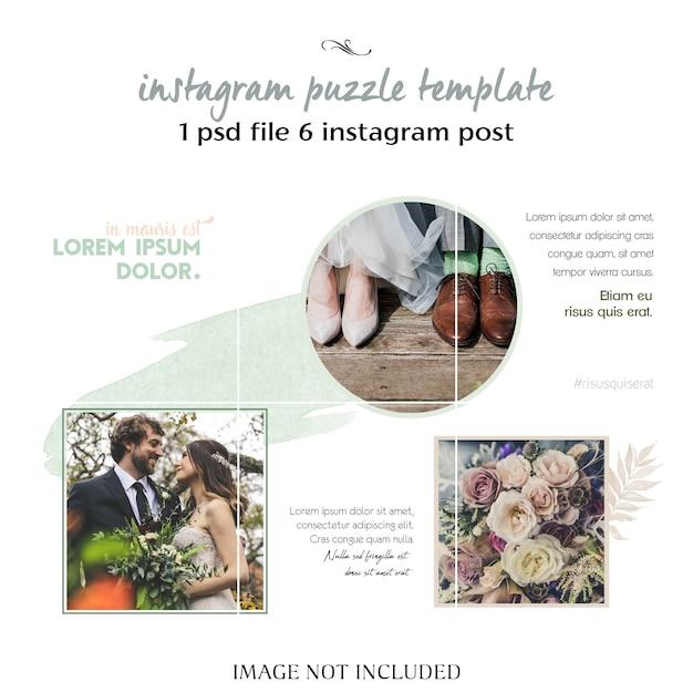 Modèle de collage instagram mariage romantique PSD Premium