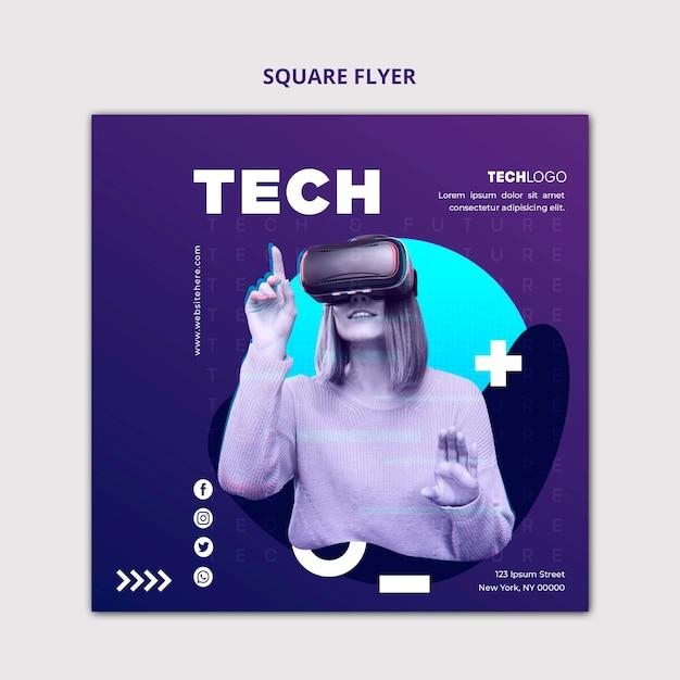 Modèle De Concept De Flyer Carré Tech & Future Psd gratuit