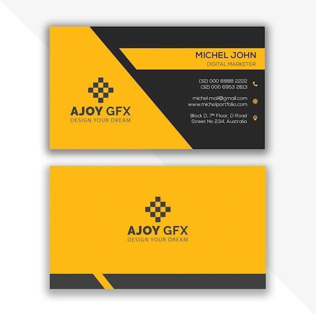 Modèle de conception de carte de visite jaune PSD Premium