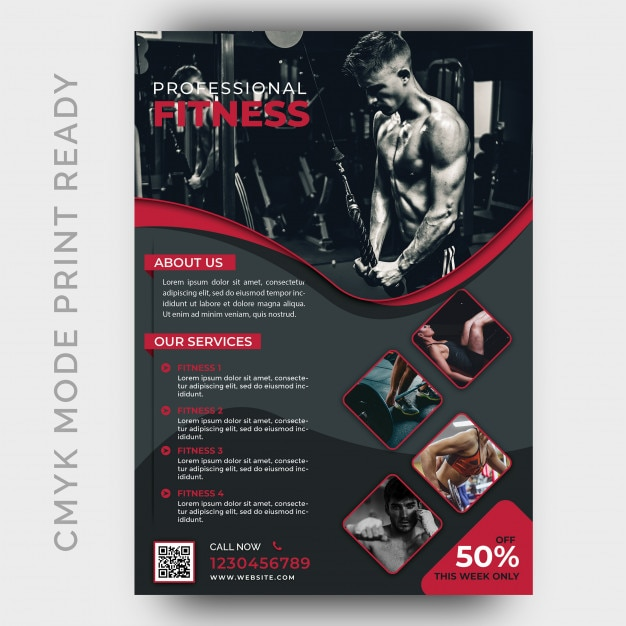 Modèle de conception de flyer gym fitness moderne PSD Premium