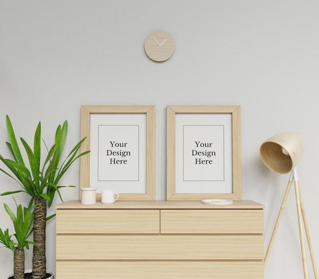 Modèle de conception de maquette de cadre de double affiche réaliste assis portrait en intérieur minimaliste PSD Premium