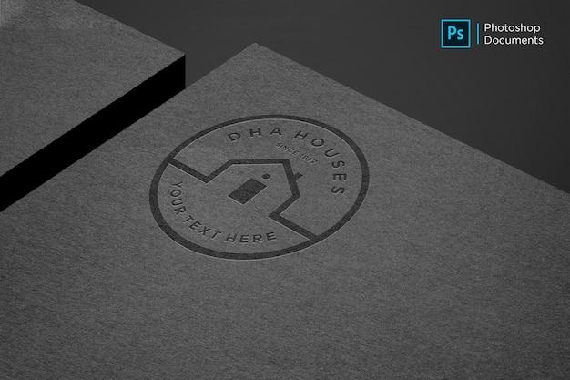 Modèle De Conception De Maquette De Logo En Papier Noir PSD Premium