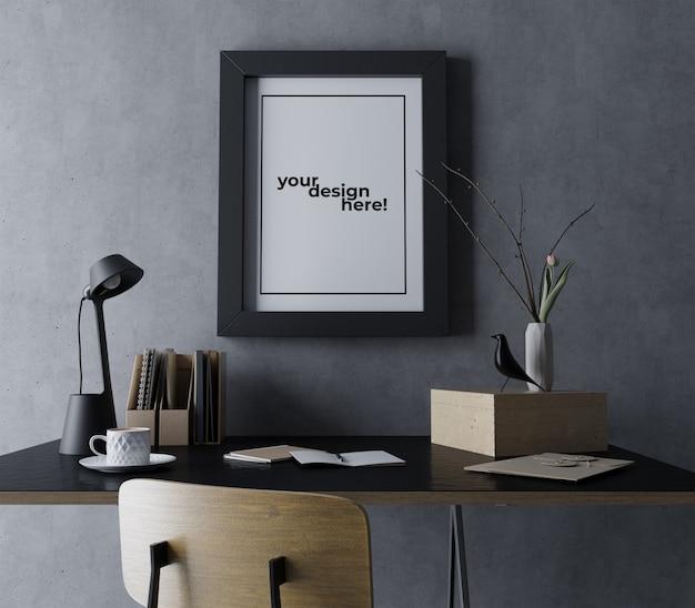 Modèle De Conception Maquette Maquette Cadre Réaliste Suspendu Portrait Sur Mur En Béton Dans Un Espace De Travail Noir Moderne PSD Premium