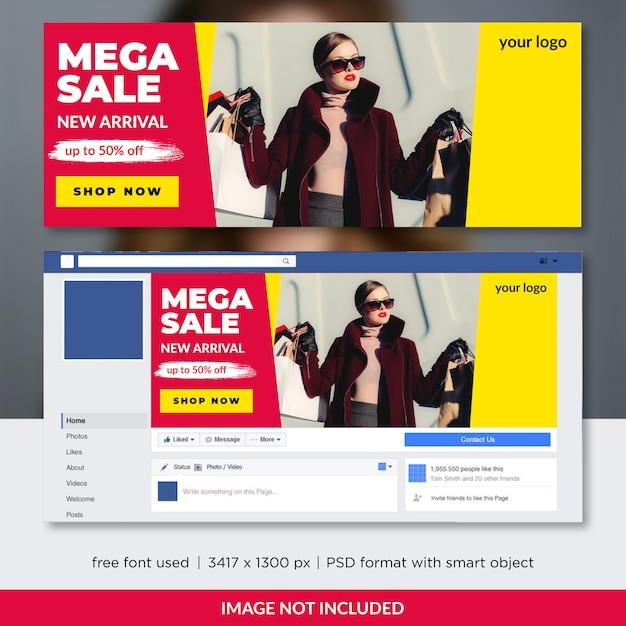 Modèle de couverture facebook de vente de mode PSD Premium
