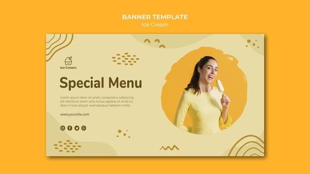 Modèle De Crème Glacée De Bannière Psd gratuit
