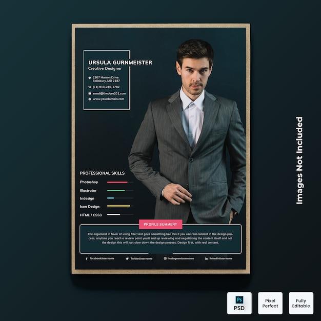 Modèle De Cv De Curriculum Vitae Moderne PSD Premium