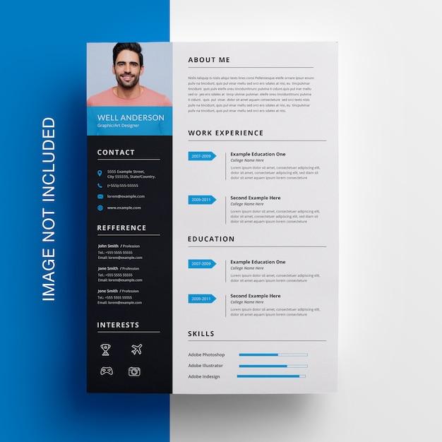 Modèle De Cv Simple Avec Accent Cyan PSD Premium