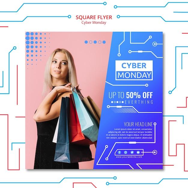 Modèle de cyber lundi de flyer Psd gratuit