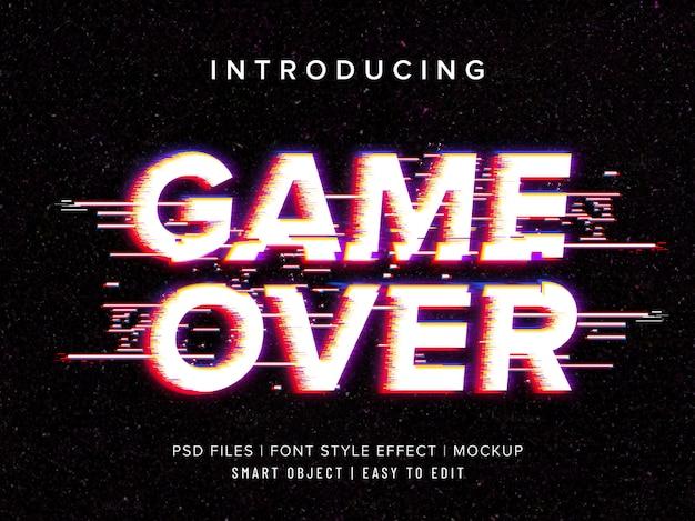 Modèle D'effet De Style De Police Game Over Glitch PSD Premium