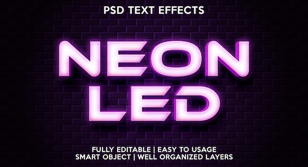 Modèle D'effet De Texte Néon PSD Premium