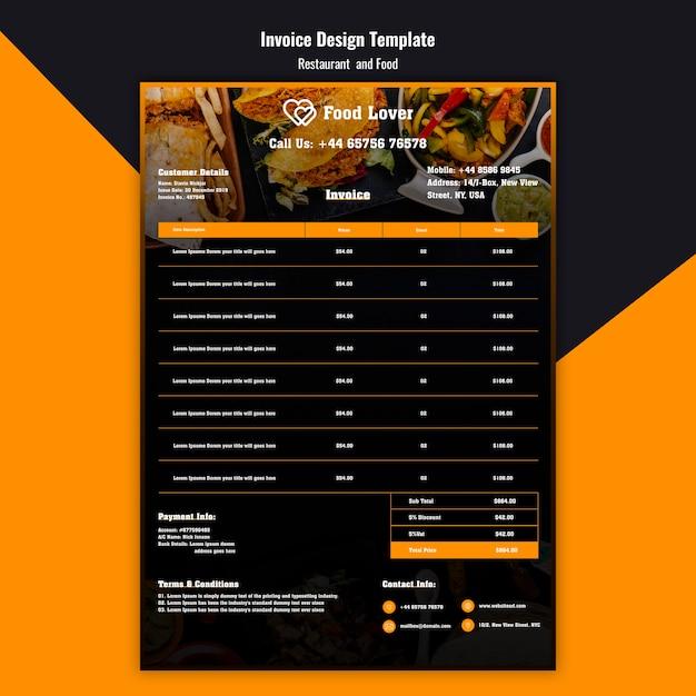 Modèle de facture moderne pour le restaurant de petit-déjeuner Psd gratuit