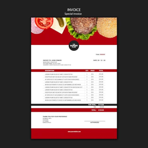 Modèle De Facture Pour Restaurant Burger | PSD Gratuite