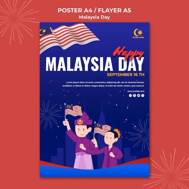Modèle De Fl; Yer Pour La Célébration De La Journée En Malaisie Psd gratuit