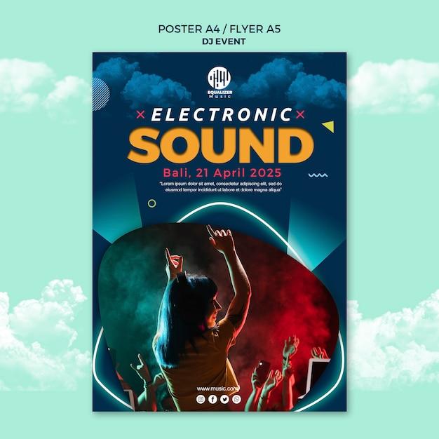 Modèle De Flyer D'affiche De Concept De Fête Musicale Psd gratuit