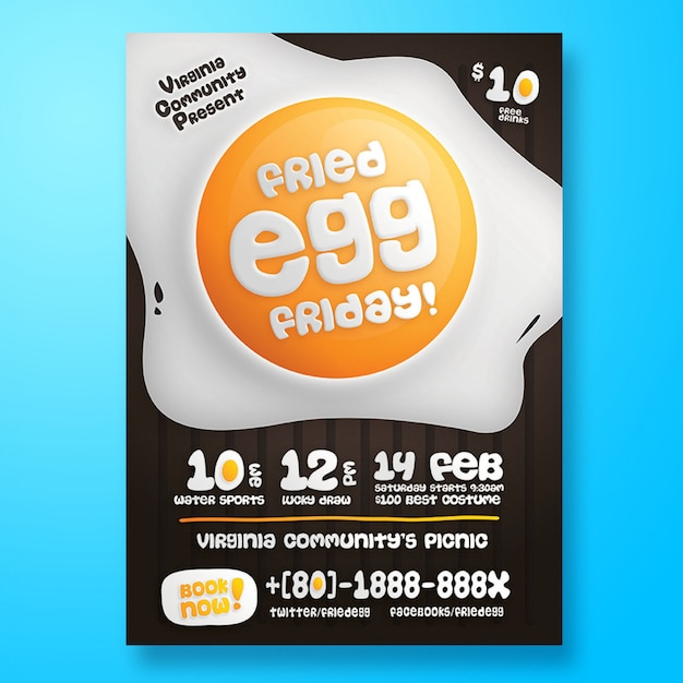 Modèle de flyer ou affiche pour une fête de pique-nique PSD Premium