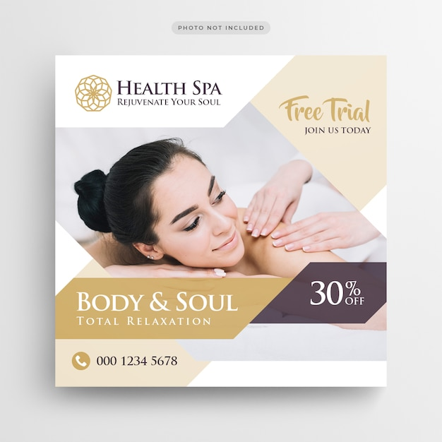 Modèle de flyer de bannière de spa ou carré PSD Premium