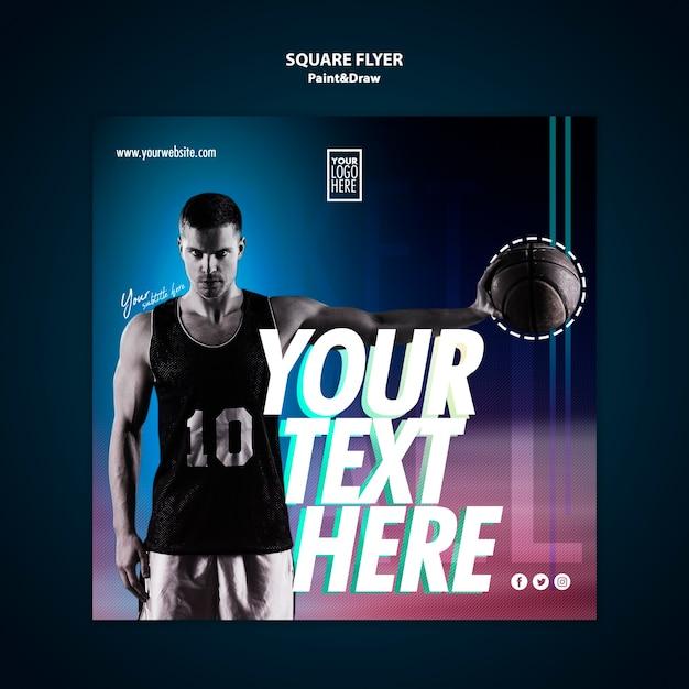 Modèle De Flyer Carré De Joueur De Basket Psd gratuit