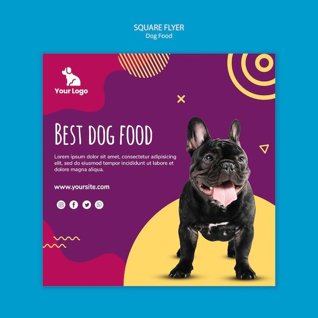 Modèle De Flyer Carré De Nourriture Pour Chien Psd gratuit