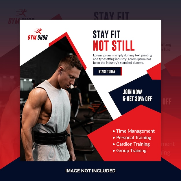 Modèle de flyer carré ou post fitness gym gym PSD Premium