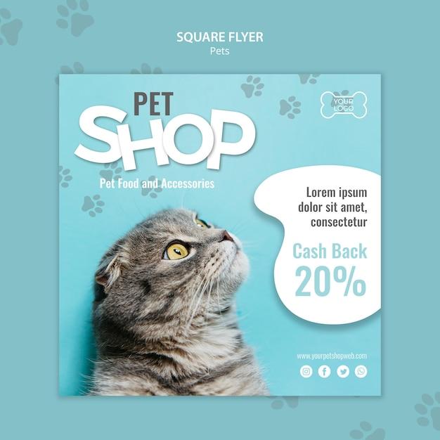 Modèle De Flyer Carré Pour Animalerie Psd gratuit