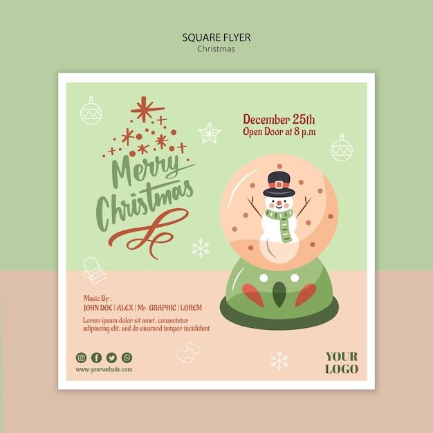 Modèle De Flyer Carré Pour Noël Avec Boule à Neige Psd gratuit