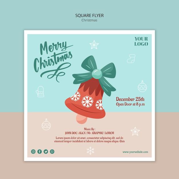 Modèle De Flyer Carré Pour Noël Avec Cloche Psd gratuit