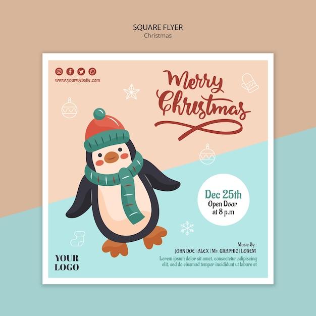 Modèle De Flyer Carré Pour Noël Avec Pingouin PSD Premium