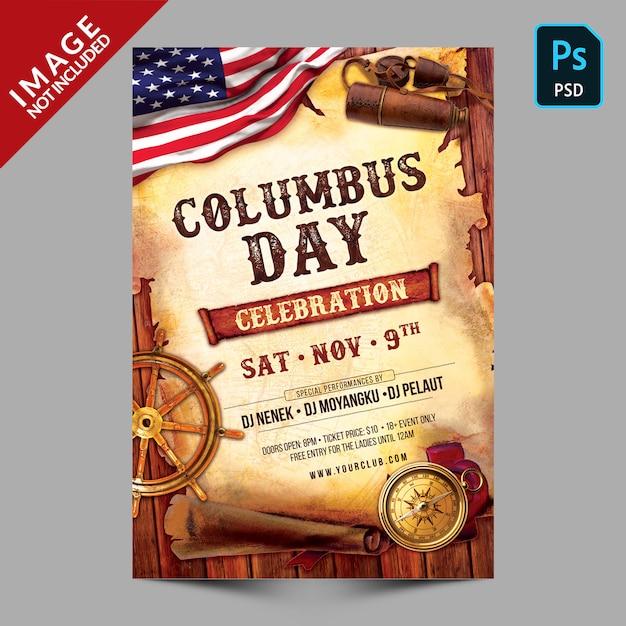 Modèle de flyer célébration jour colomb PSD Premium