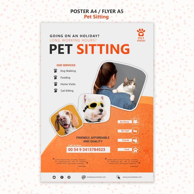 Modèle De Flyer De Concept De Garde D'animaux Psd gratuit