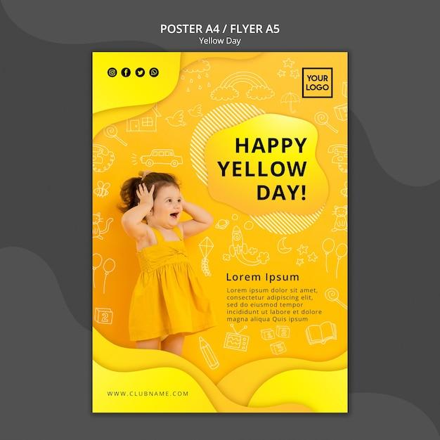 Modèle De Flyer De Concept De Jour Jaune Psd gratuit