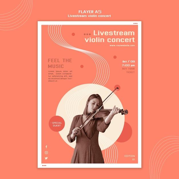 Modèle De Flyer Concert De Violon En Direct Psd gratuit