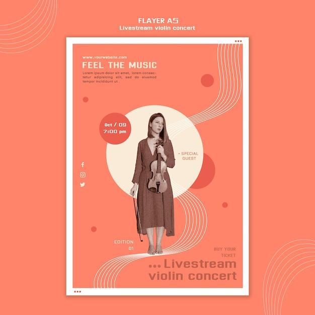 Modèle De Flyer De Concert De Violon Livestream Psd gratuit