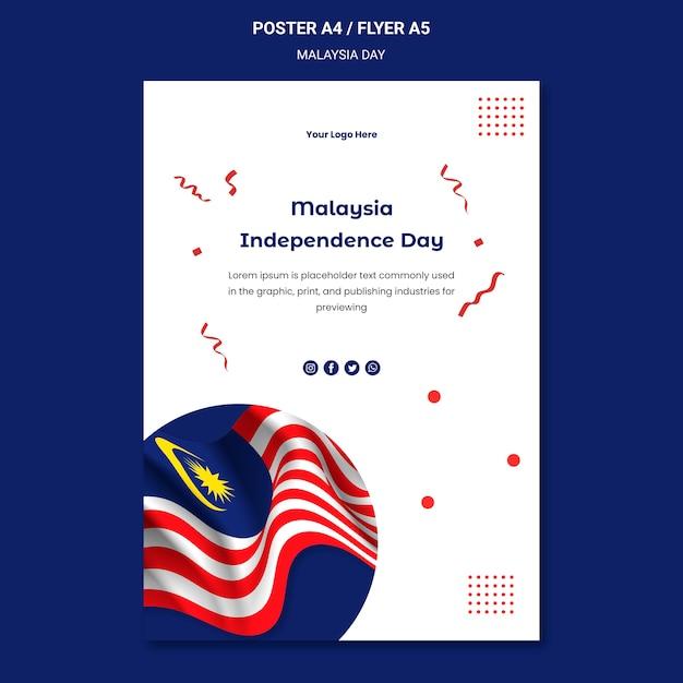 Modèle De Flyer Drapeau Ondulé De La Malaisie Psd gratuit