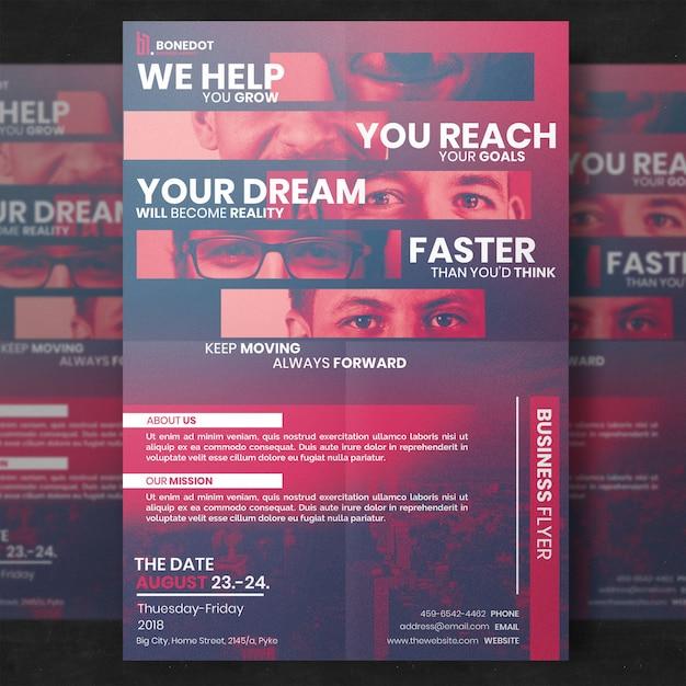 Modèle de flyer d'entreprise rouge PSD Premium