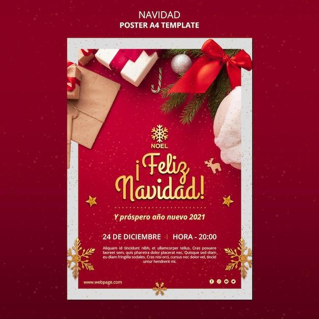 Modèle De Flyer De Feliz Navidad Psd gratuit