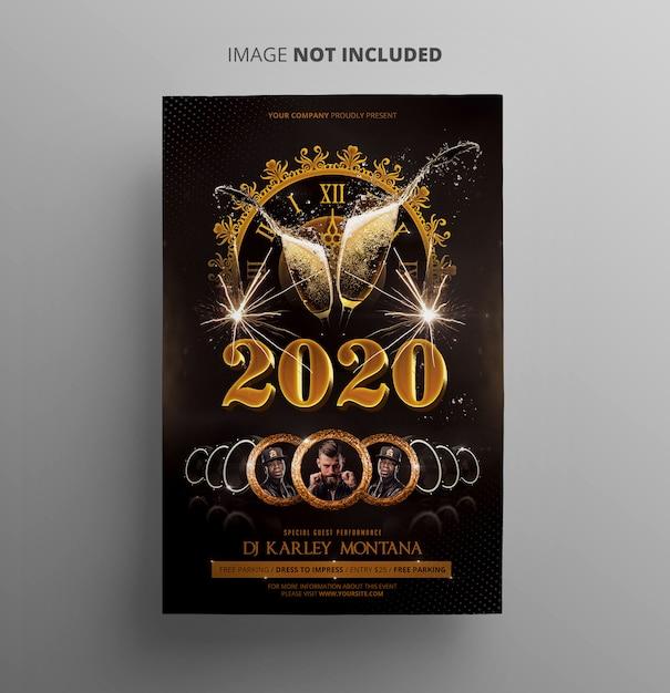 Modèle de flyer de fête du nouvel an PSD Premium