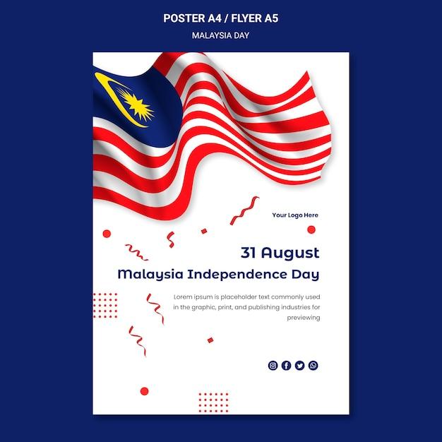 Modèle De Flyer De Fête De L'indépendance Du Drapeau Malaisien Ondulé Psd gratuit