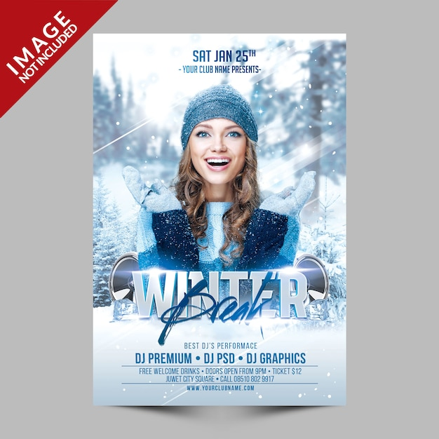 Modèle de flyer de fête de la pause hivernale PSD Premium