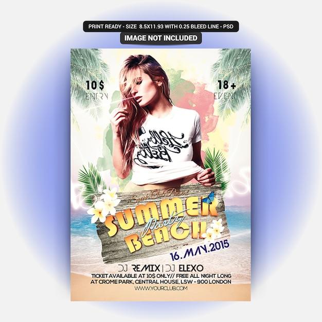 Modèle de flyer de fête sur la plage d'été PSD Premium