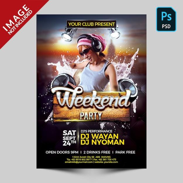 Modèle de flyer de fête de week-end PSD Premium