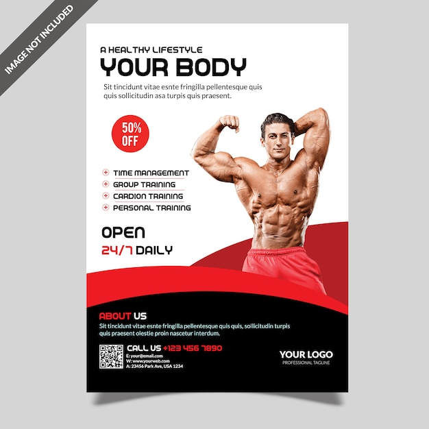 Modèle de flyer fitness moderne gym PSD Premium