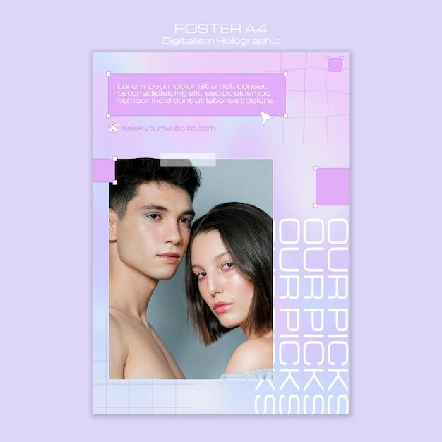 Modèle De Flyer Holographique De Couple Ensemble Digitalisme PSD Premium