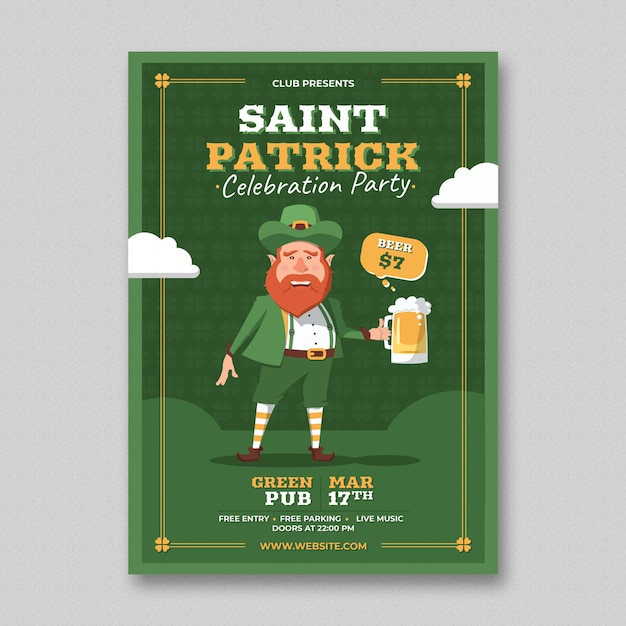 Modèle de flyer de jour de saint patrick PSD Premium