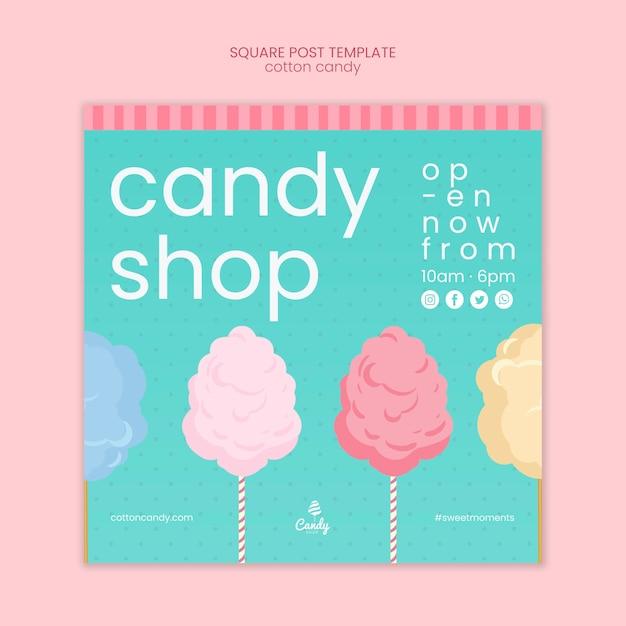 Modèle de flyer de magasin de bonbons Psd gratuit