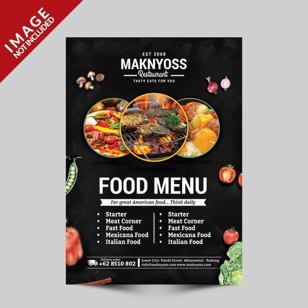 Modèle de flyer de menu alimentaire PSD Premium