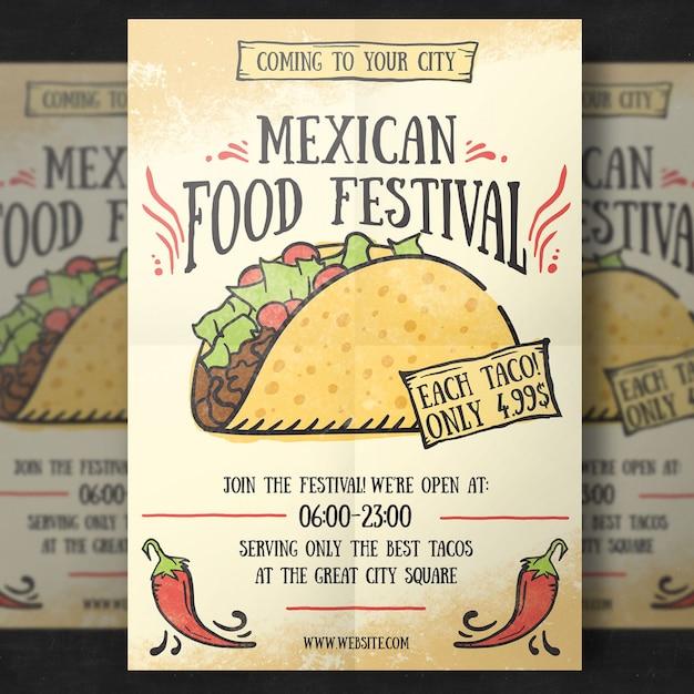Modèle de flyer de nourriture mexicaine PSD Premium