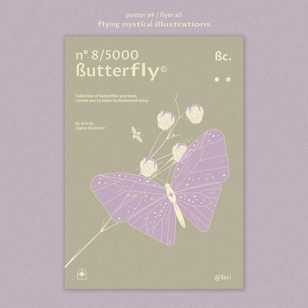 Modèle De Flyer Papillon Mystique Volant Psd gratuit