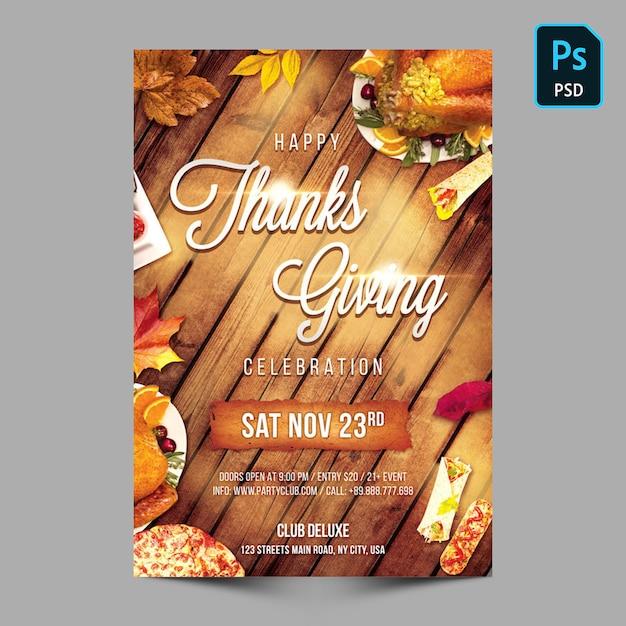 Modèle de flyer ou poster de partie de remerciement PSD Premium