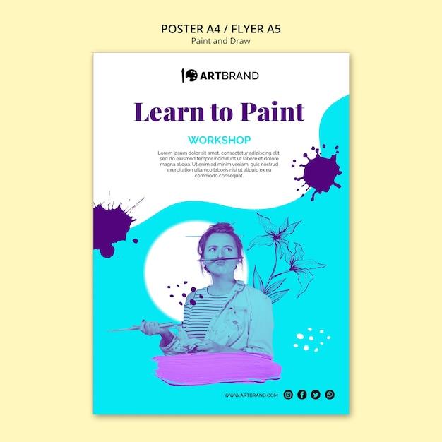 Modèle De Flyer Pour Apprendre à Peindre Psd gratuit